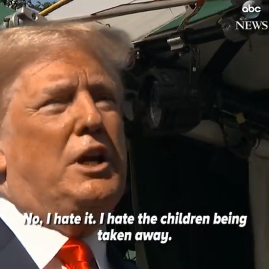 """特朗普:""""不,我讨厌看到孩子们被带走。"""" ABC视频截图"""