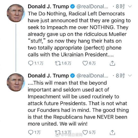 特朗普回应总统弹劾条款:快来弹劾我吧 我们会赢
