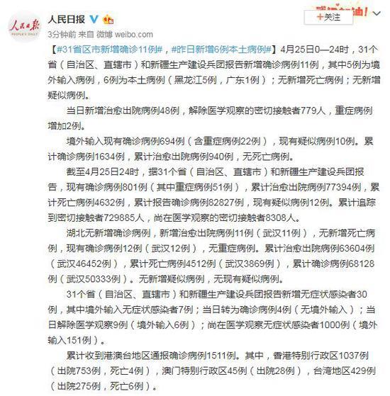 4月25日31省区市新增确诊11例 其中6例为本土病例图片