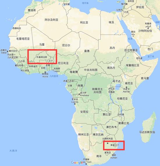 """非洲""""硕果仅存""""的2个台湾""""友邦"""" 谷歌地图截图"""