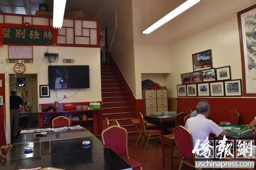 平日的洛杉矶市中国城合胜堂为打麻将休闲会所。(美国侨报网/记者翁羽 摄)