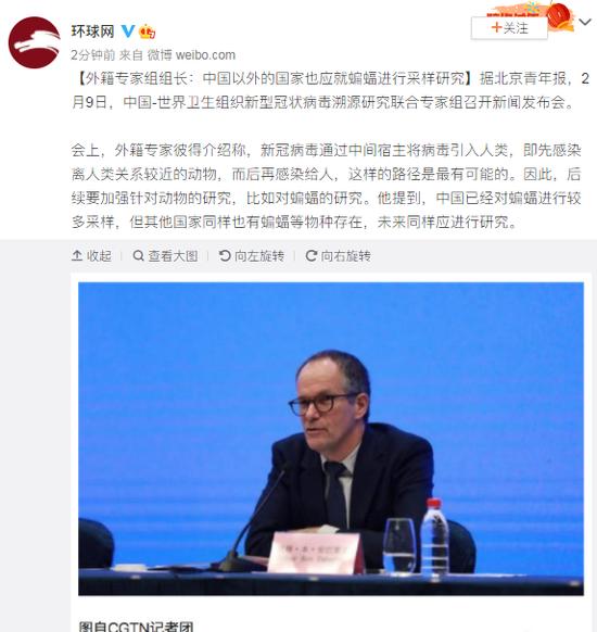 外籍专家组组长:中国以外的国家也应就蝙蝠进行采样研究图片