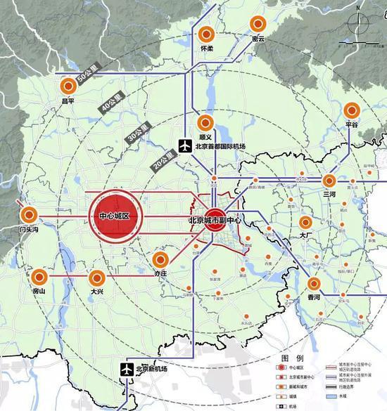 城市副中心与周边地区交通骨架网络示意图(北京市规划和国土资源管理委员会供图)
