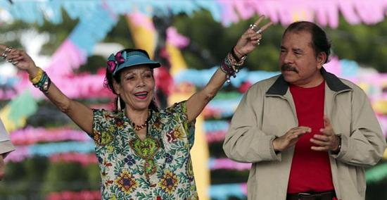 尼加拉瓜总统奥尔特加(右)夫妇(《今日尼加拉瓜》图)
