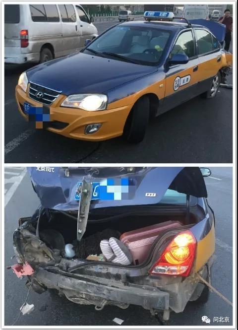 """丁先生在事故现场拍摄的""""出租车"""",后证明为套牌出租车"""