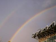 北京雨后天空现双彩虹景象美轮美奂