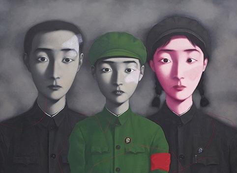 """《血缘:大家庭3号》。张晓刚的""""大家庭""""系列油画,被誉为国际上知名度最高的中国图像之一。"""
