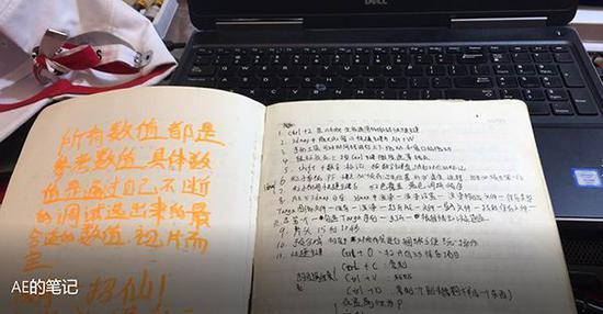 AE手写笔记。 本文图片 受访者提供
