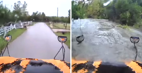 视频:莽撞校车司机驾车直闯洪水区 校车被冲走倾斜
