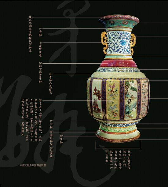 各种釉彩大瓶细节图