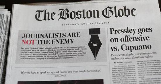 《波士顿环球报》16日报纸 图源:推特