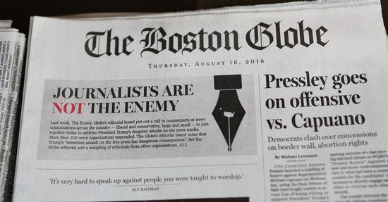 波士顿环球报回应特朗普指责的版面(图源:CNBC)