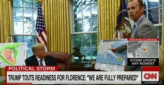 """面对""""佛罗伦斯""""飓风,特朗普:完全准备好了 CNN视频截图"""