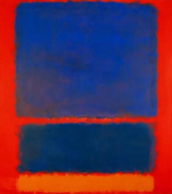 罗斯科的《蓝、橘、红》,创作于1961年。可能很多人没办法理解,怎么涂了两大块色彩就能卖到天价。