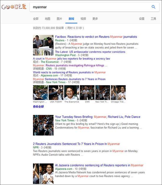 谷歌新闻搜索页面截图