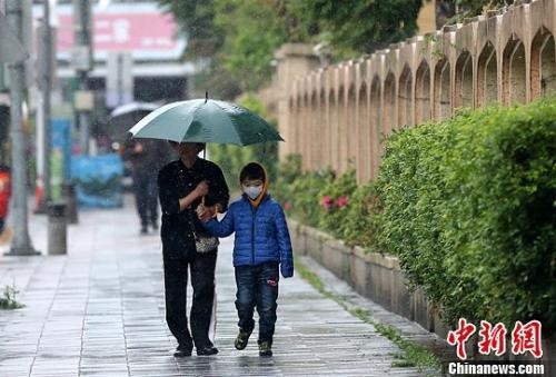 资料图:台北雨中的行人。中新社发 陈小愿 摄