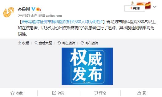 青岛追踪检测市胸科医院相关388人均为阴性图片