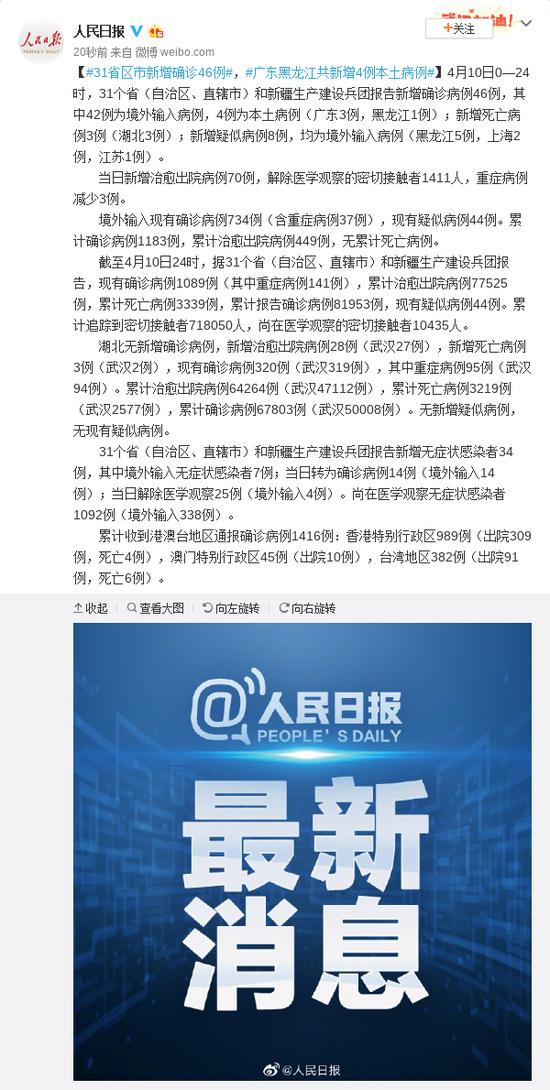 31省区市新增确诊46例 广东黑龙江共新增4例本土病例图片
