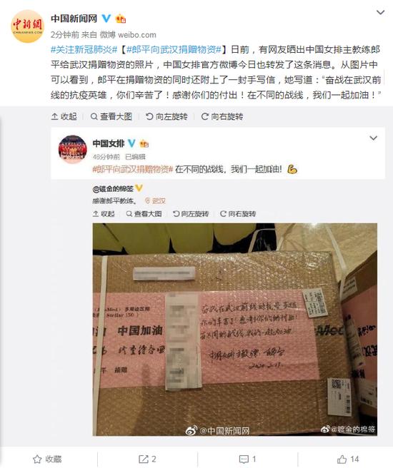 郎平向武汉捐赠物资图片