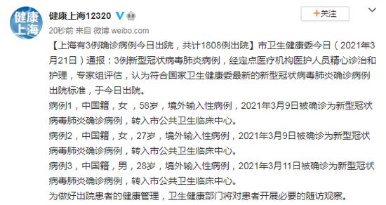 上海有3例确诊病例今日出院,共计1808例出院图片