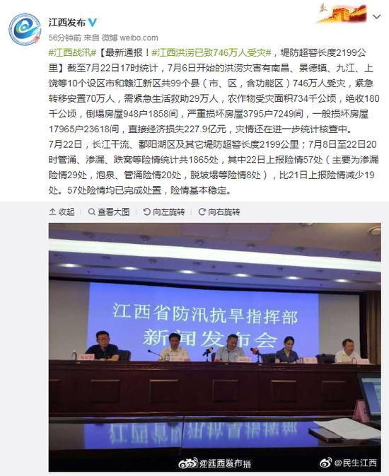 [杏悦]洪杏悦涝已致746万人受灾堤防超警长度2图片