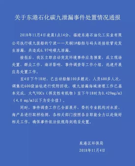 ▲泉港区环保局通报