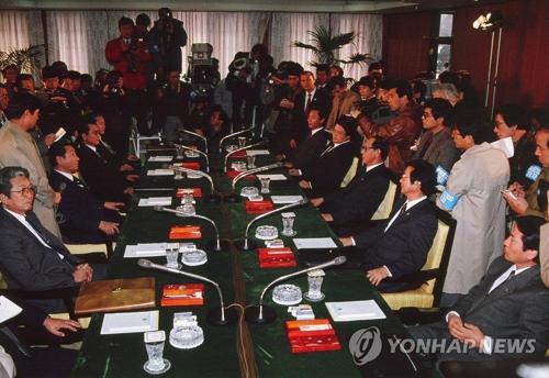 资料图:1990年1月第8次韩朝体育会谈现场(图片来源:韩联社)