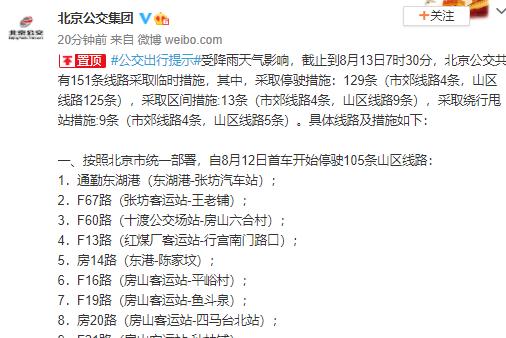 受降雨影响 北京公交共有151条线路采取临时措施