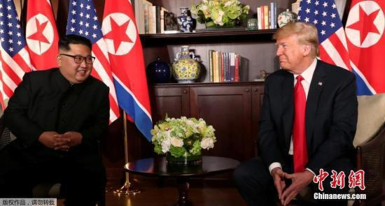 图为6月12日,金正恩与特朗普会晤现场。