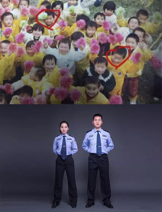"""21年前,他们在同一个幼儿园学堂;21年后,他们穿着同款""""情侣装""""携手步入婚姻殿堂。 本文图片均为公安厅提供"""
