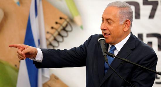 以色列总理内塔僧亚胡再次要挟将兼并西岸假寓面。(图源:路透)