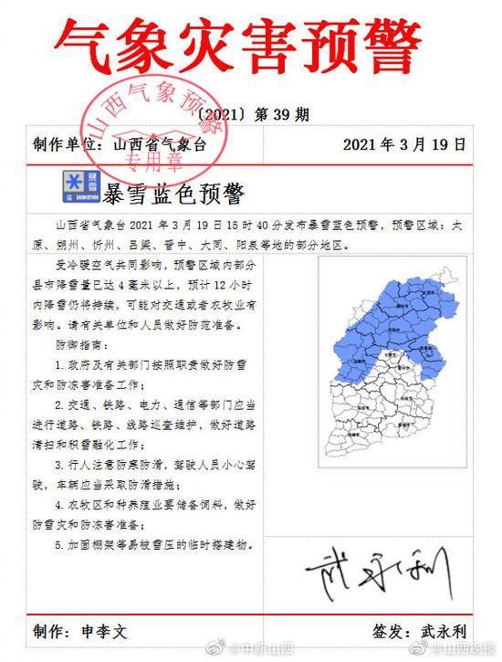 山西省气象台发布暴雪蓝色预警图片