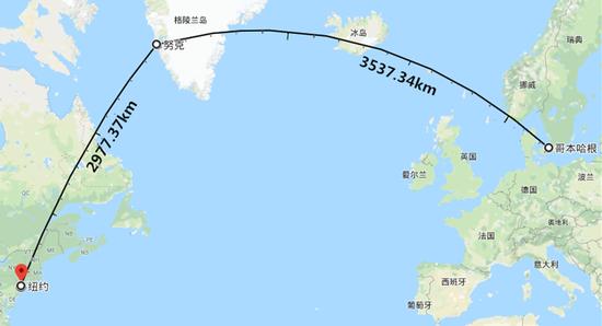 格陵兰首都努克和丹麦首都哥本哈根之间的距离,比努克和纽约的还要远。
