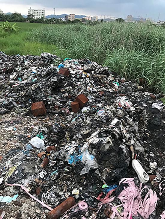 水稻旁边的各种垃圾