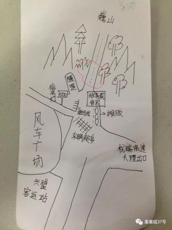 ▲目击者手绘抓捕现场图,红圈系黄德军落网处。受访者供图