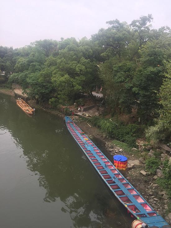 橡胶坝下游仍停泊着敦睦村的2艘龙船和1艘游船。