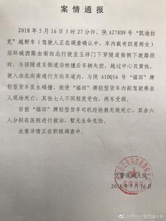 凯迪拉克越野车失控与对侧货车相撞 造成2死6伤zhangxiaoyuluoti
