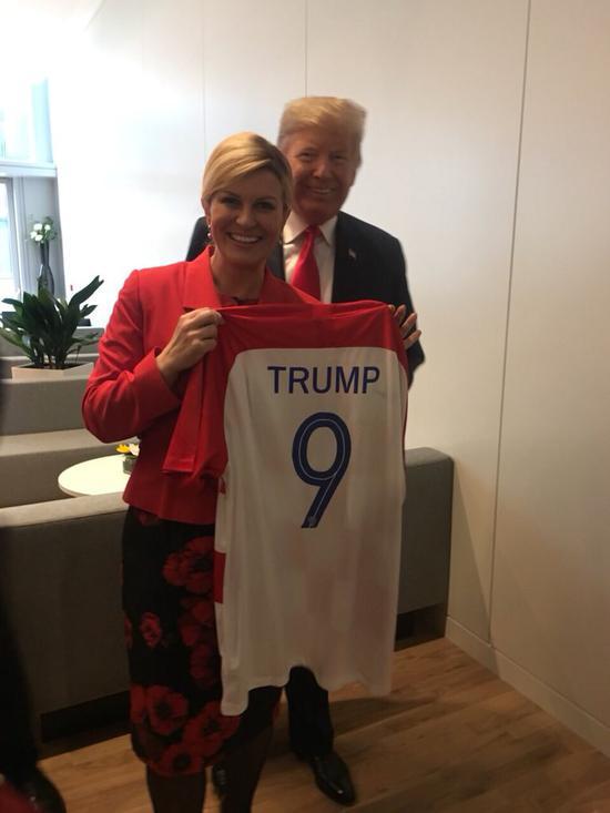 克罗地亚女总统科琳达与特朗普