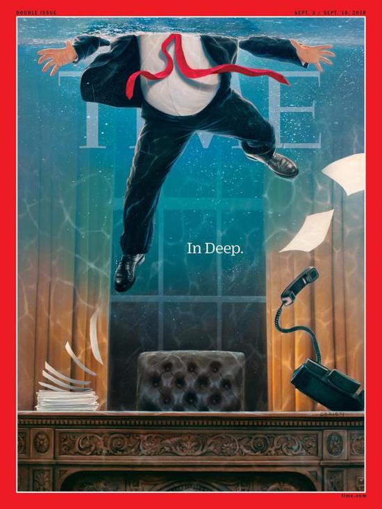 《時代》週刊川普系列第三幅圖:洪水將辦公室淹沒,川普漂浮在水中,僅有頭部露出水面呼吸