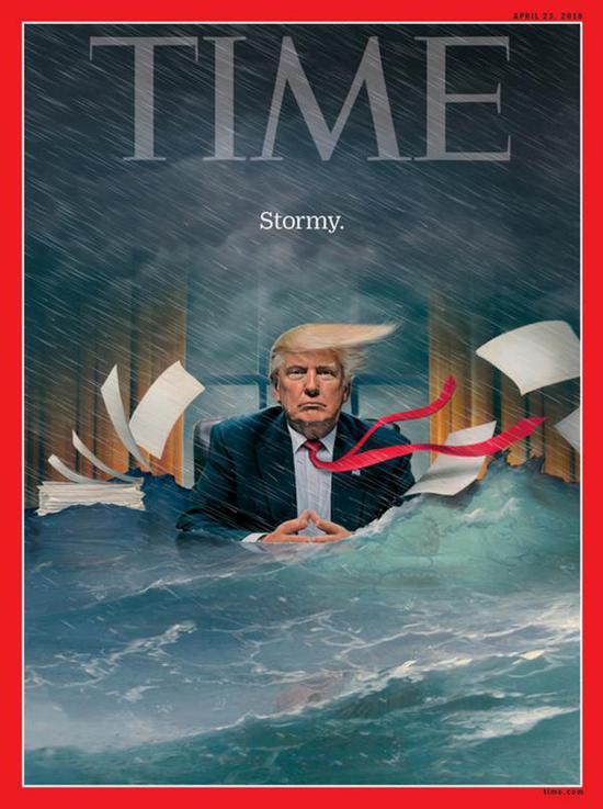 《時代》週刊川普系列第二幅圖:洪水涌進辦公室,川普面容不改