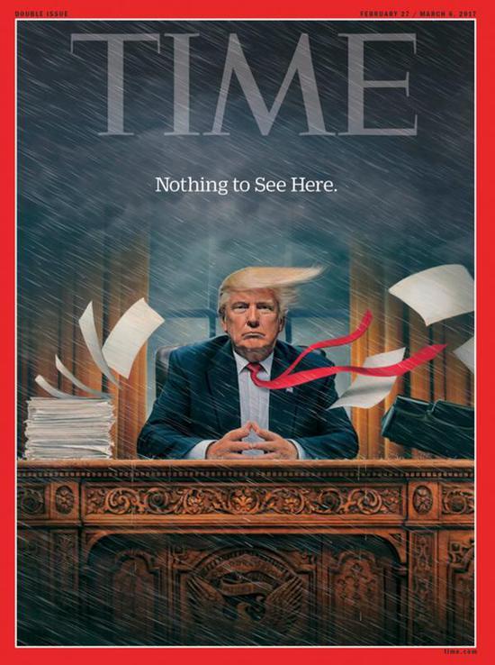 《時代》週刊川普系列第一幅圖:風雨飄搖,川普端坐在白宮橢圓形辦公室內