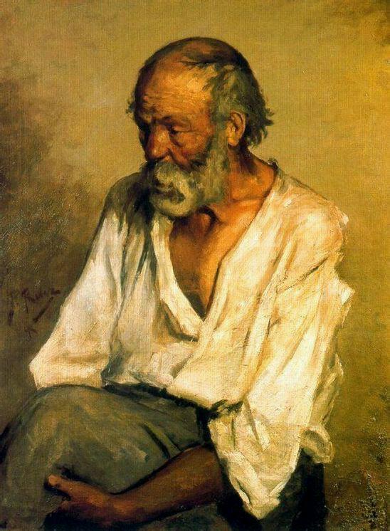 《老渔夫》,画于1894年。毕加索生于1881年,看看人家13岁就能画到什么级别了。