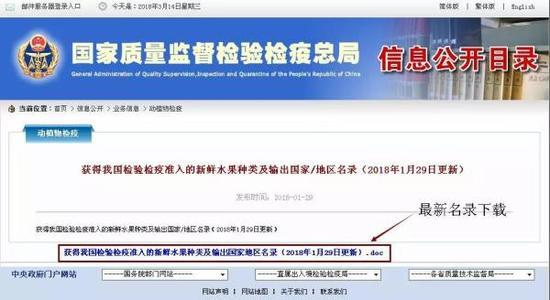 国家质检总局网站截图