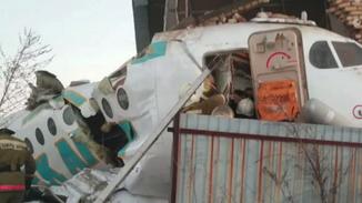 现场视频:哈萨克斯坦百人客机坠毁