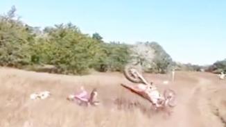 摩托车手行驶中被一头小鹿撞翻