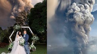 实拍菲律宾火山喷发下的震撼婚礼