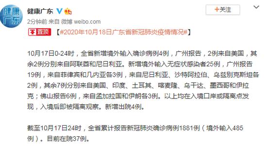 10月17日广东省新增境外输入确诊病例4例图片