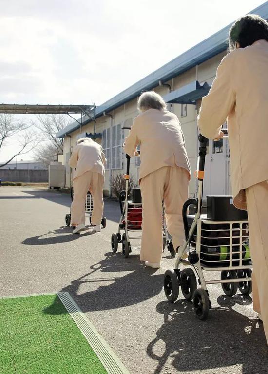 2016年,枥木监狱内,几名老年女囚犯推着轮椅踱步。