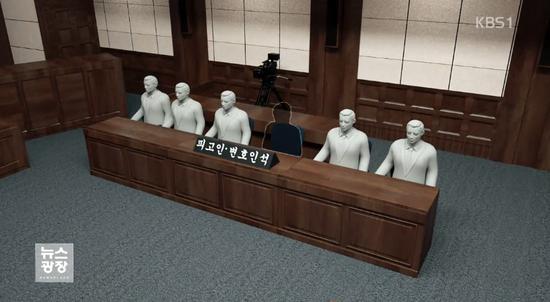 图为被告人和律师席位,朴槿惠将缺席