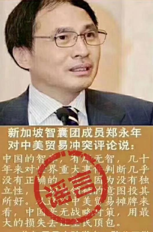 被郑永年指为谣言的言论 图片来源:IPP评论微信公众号